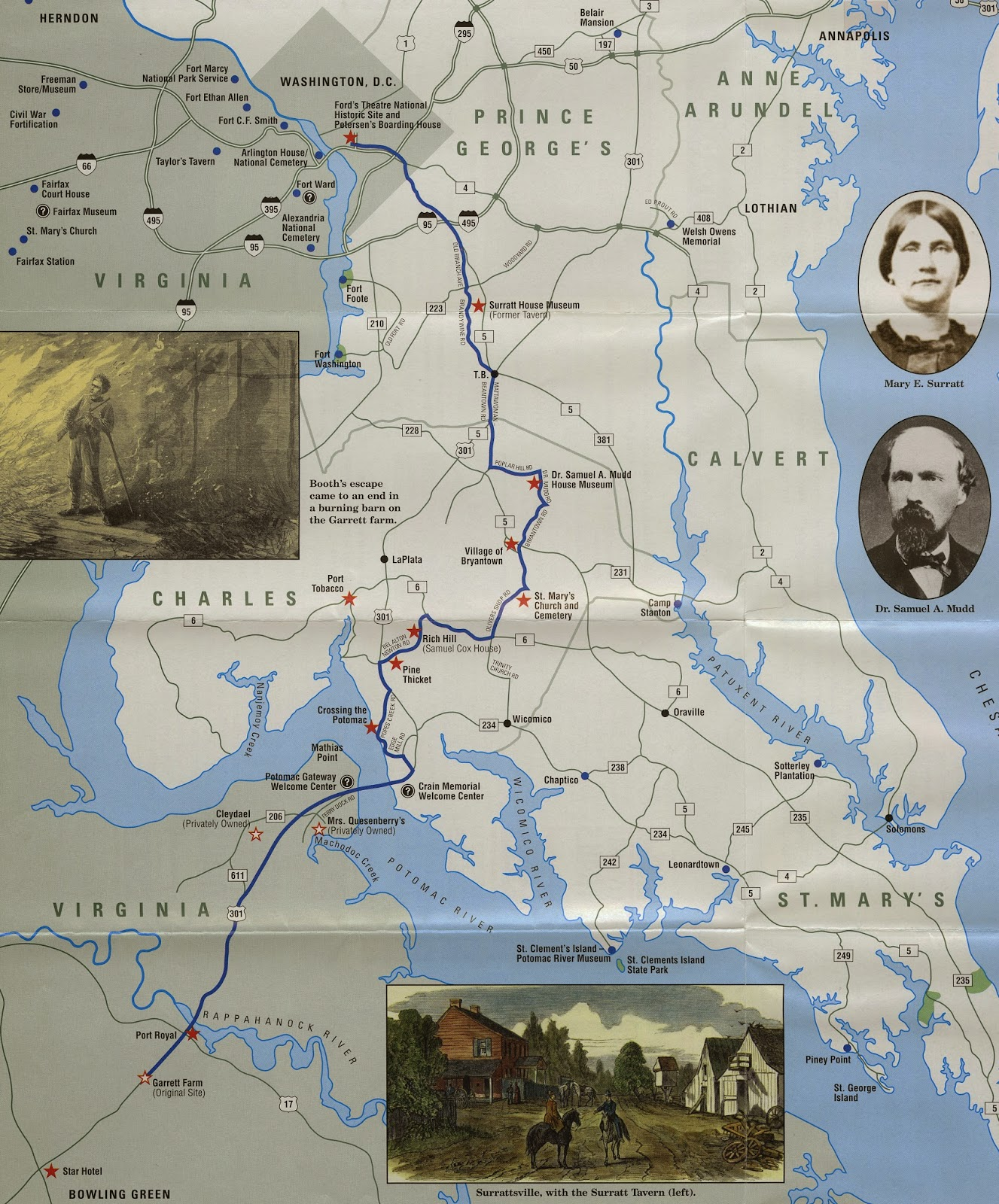 John Wilkes Booth Escape Route Map Available