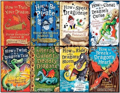 bookcovers from the HOW TO TRAIN YOUR DRAGON series