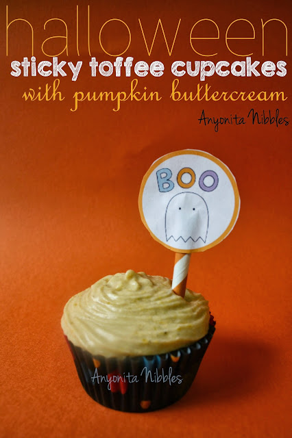 Halloween Sticky Toffee Cupcakes with Pumpkin Buttercream from www.anyonita-nibbles.com