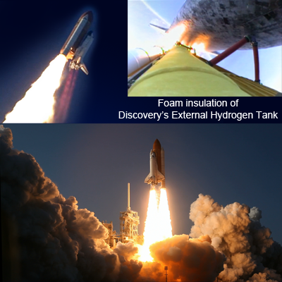 Launch of Shuttle Discovery on 24 Feb 2011 and foam particles liberated from liquid hydrogen tank. NASA, 2011.