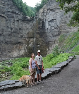 Jim, Lin and Layla near the trail's end at the Falls.