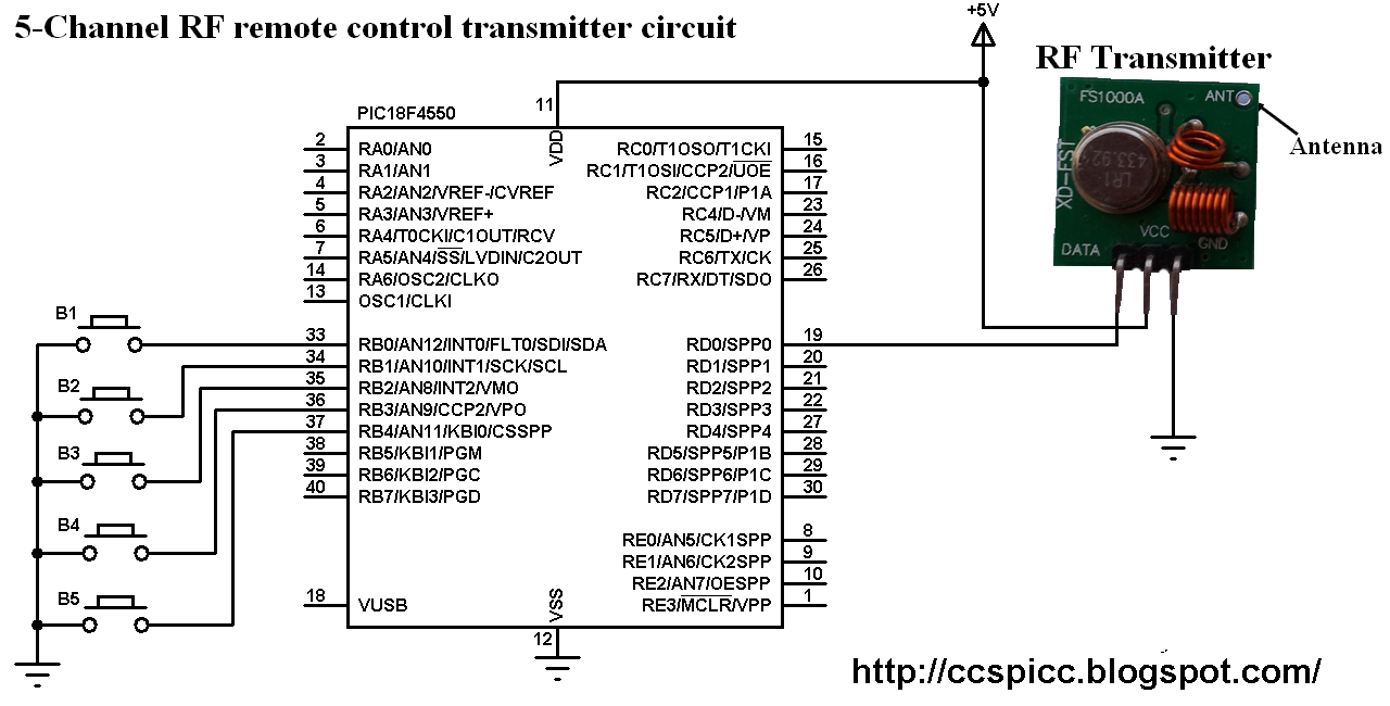 433mhz Rf Remote Control System Based On Pic Microcontroller Transmitter Circuit User Prototype Using Pic18f4550 Ccs C