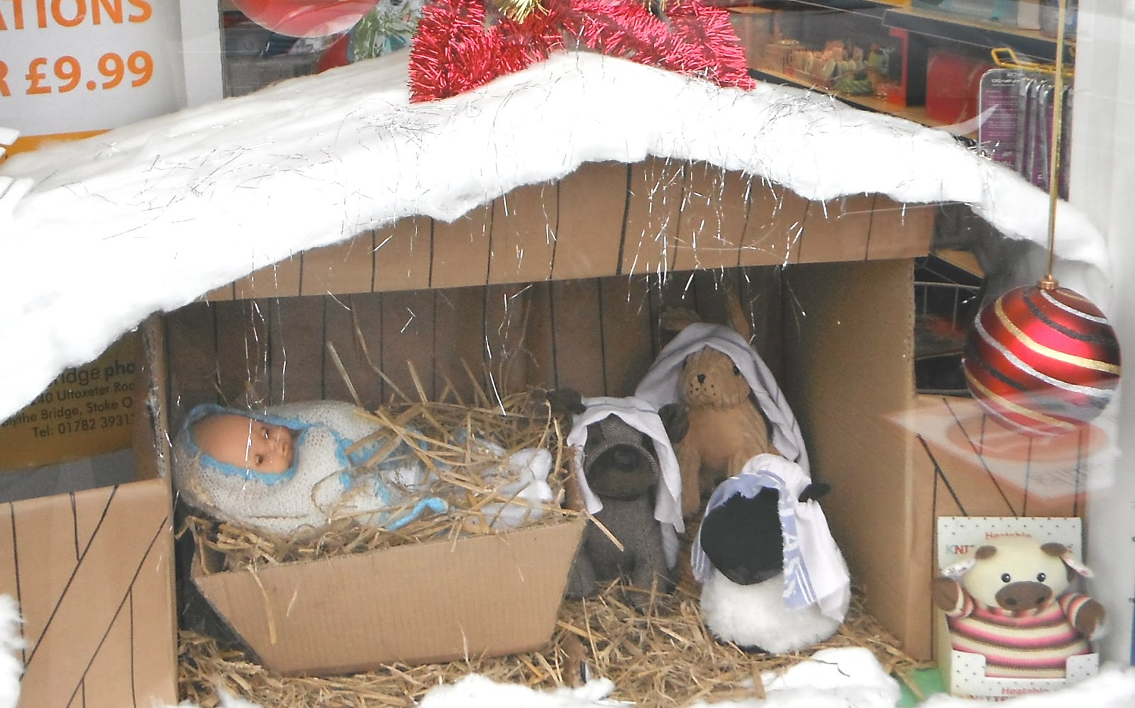 Nativity scene shop-window display