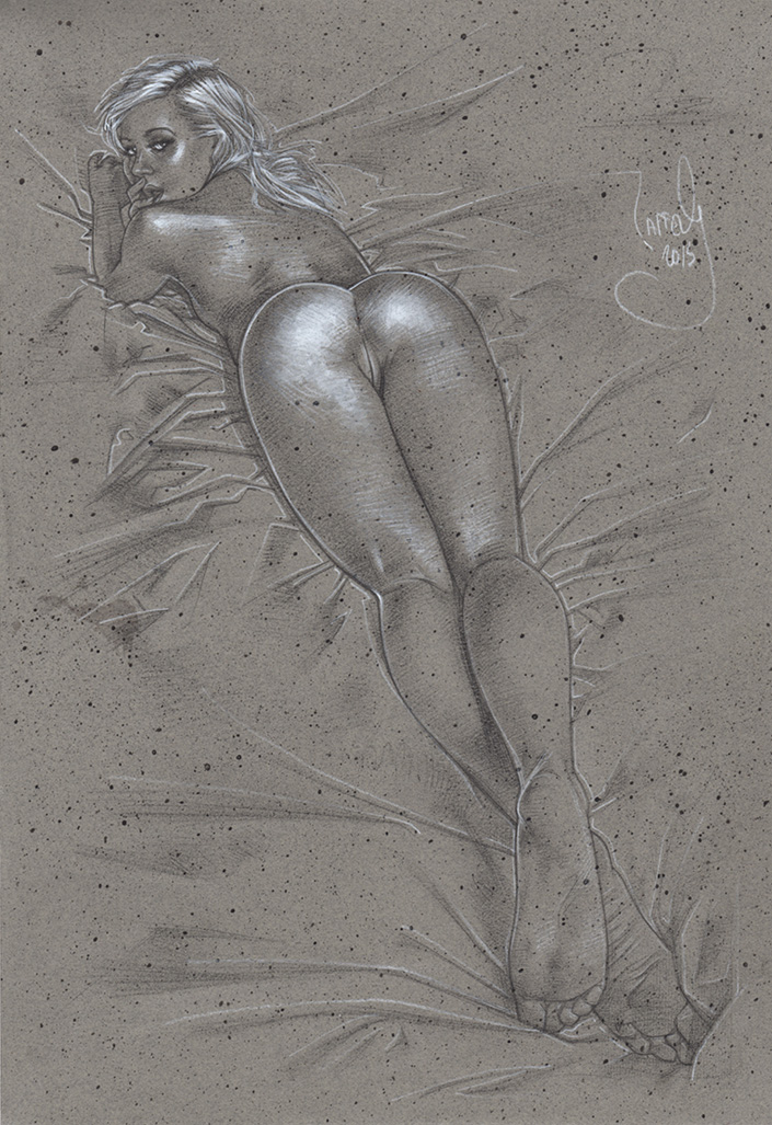 'Enticing' Nude Drawing © JEFF LAFFERTY 2015