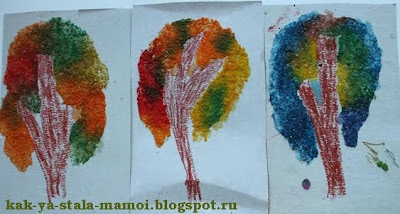 осенние деревья из соли, осеннее дерево, рисуем осеннее дерево, творчество с детьми,