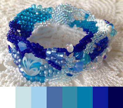 Ocean Currents, freeform peyote bracelet with color palette