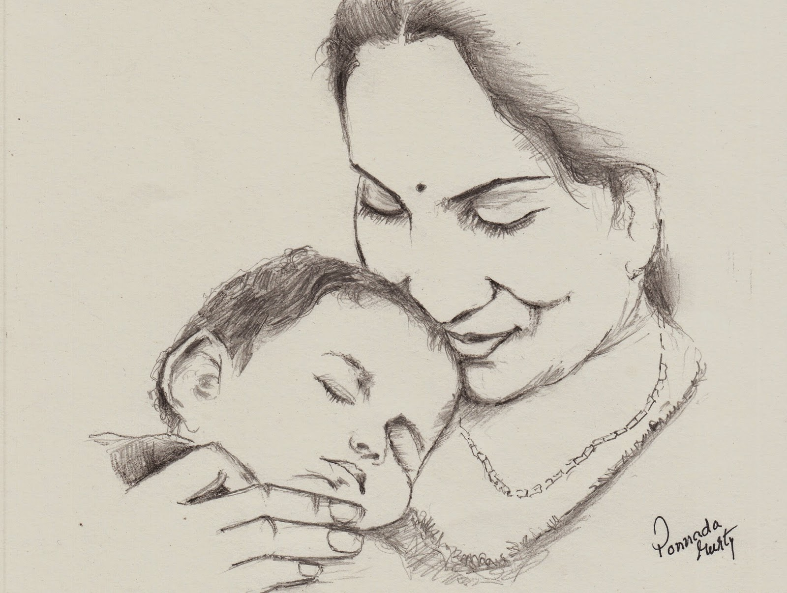 Indian mother pencil sketch
