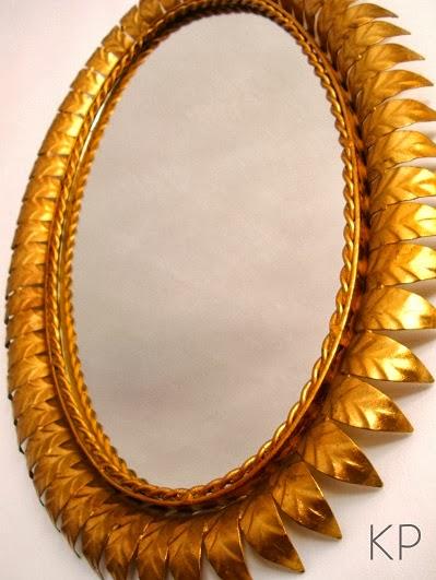 Kp tienda vintage online espejo sol vintage dorado for Espejo ovalado dorado