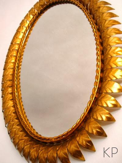 Kp tienda vintage online espejo sol vintage dorado for Espejo ovalado de pie