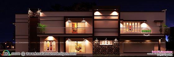 Modern flat roof villa plan