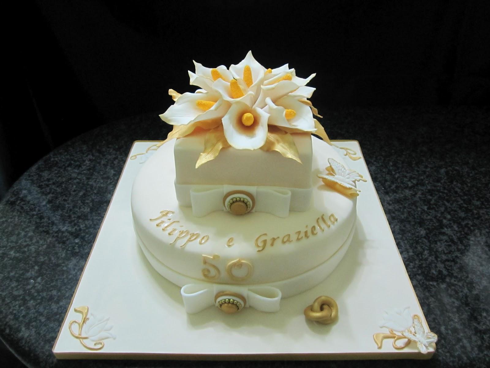 Dolce candy 50 anni di matrimonio nozze d 39 oro for Decorazione torte per 50 anni di matrimonio