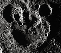 Mickey Mouse shaped craters on Mercury