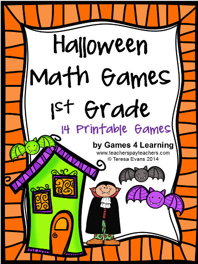 http://www.teacherspayteachers.com/Product/Halloween-Math-Games-First-Grade-1448442