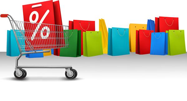 bolsas y carro de compras realistas