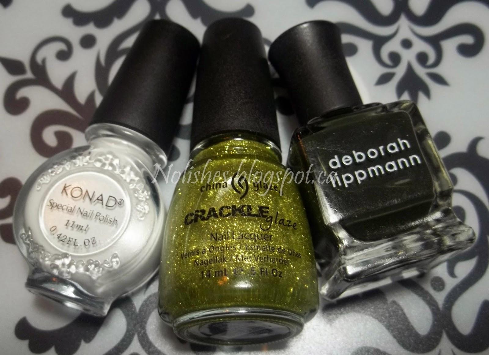 Deborah Lippmann 'Billionaire', China Glaze Crackle Glaze 'Jade-d', and Konad Special Polish in White