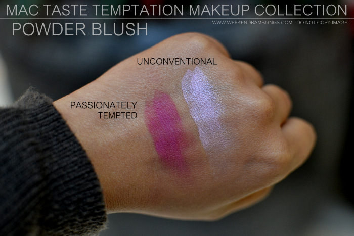 MAC Taste Temptation Makeup Collection Holiday Gifts Christmas Darker Indian Skin Swatches Beauty Blog Powder Blush Unconventional Passionately Tempted