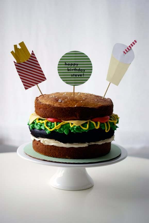 Burger Heaven: Burger Cake, Fries n Soda!  Coco Cake Land - Cake ...