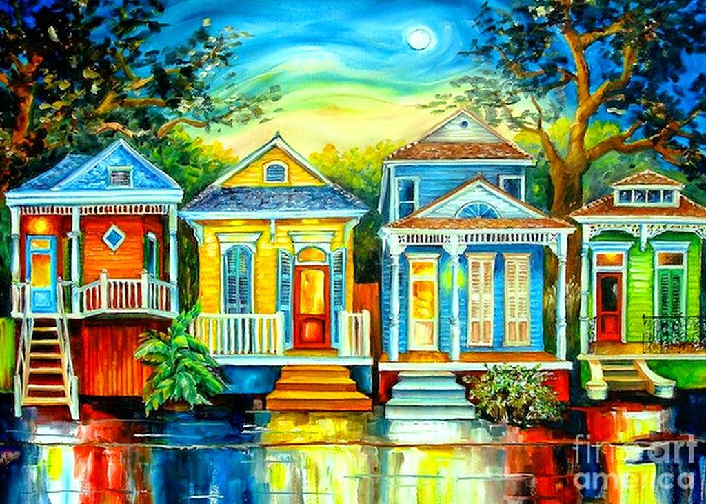 Cuadros modernos pinturas y dibujos acuarelas modernas - Paisajes de casas ...