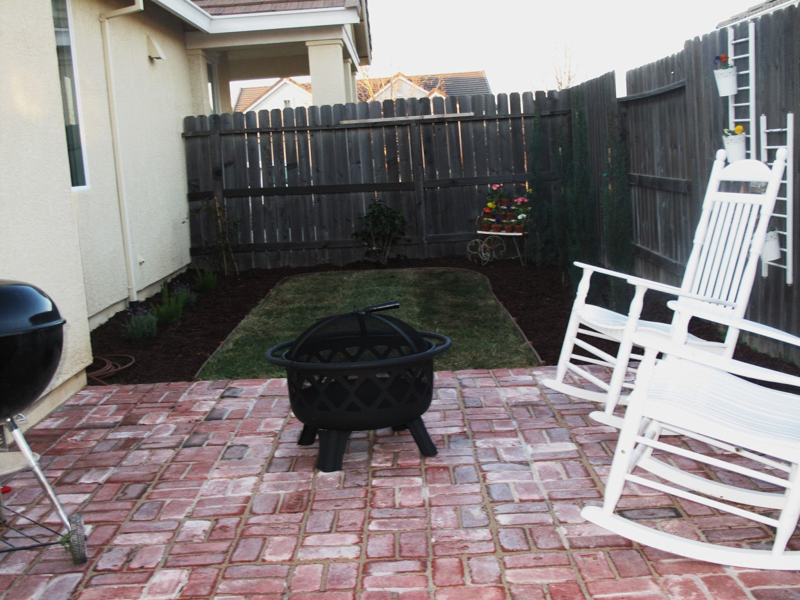 The other view of my new patio!!! And our fire pit!! We have made more
