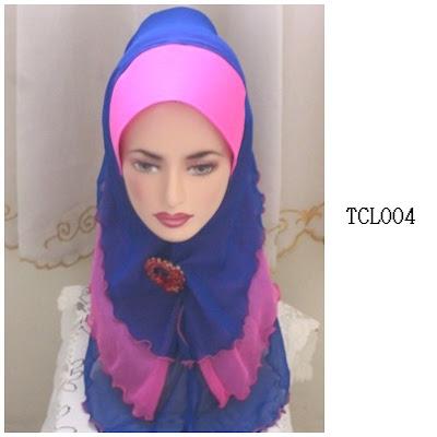 tudung chiffon 3 layer pink biru
