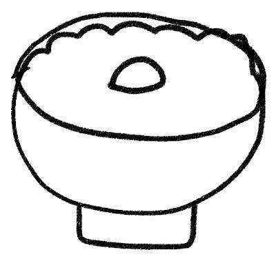 おかゆのイラスト「梅干し粥」 モノクロ線画