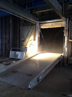 Kiln access ramp at cement plant furnace