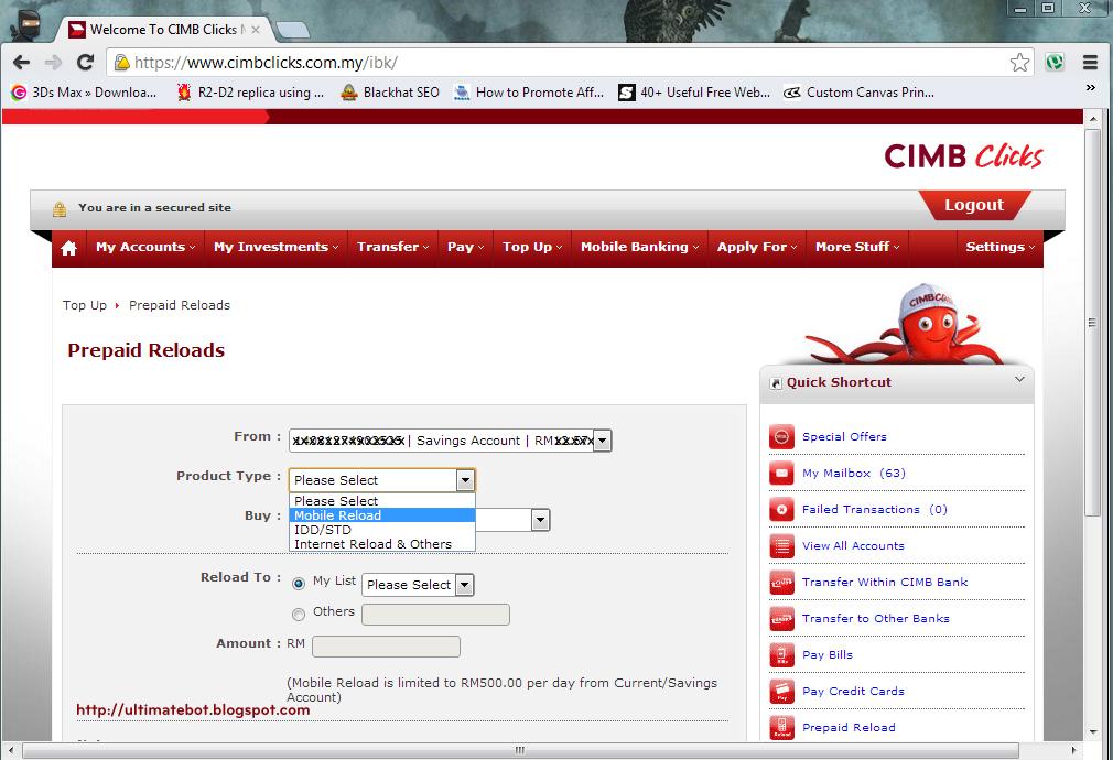 Cara untuk reload prepaid guna CIMB Clicks (bergambar ...