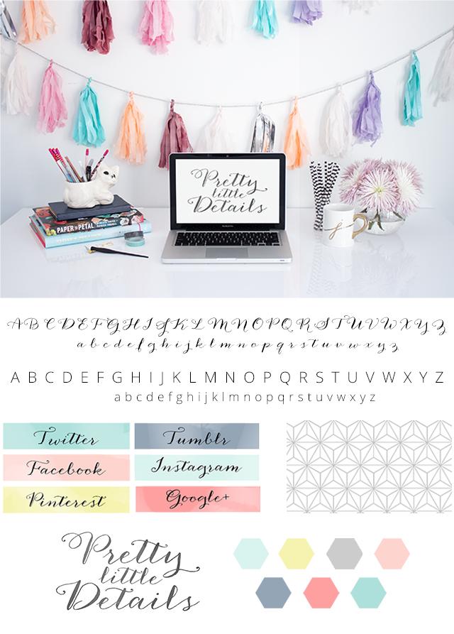A quick sneak peek of the design & branding board for Pretty Little Details!