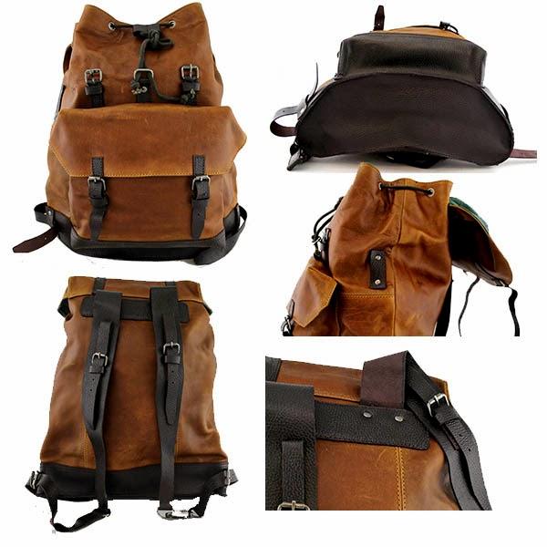 mochila de cuero para hombre vintage