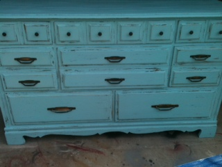 This Is A Beautiful Distressed Turquoise Dresser With 8 Drawers FOR SALE  $280 It Is PERFECTLY IMPERFECT.