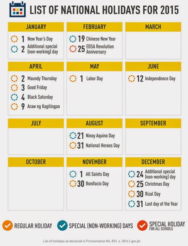2015 Philippine Holidays Infographic