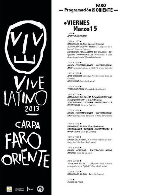 Actividades del FARO de Oriente en el Vive Latino 2013