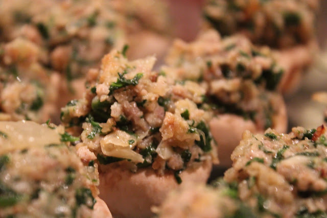Stuffed mushrooms with sausage, pork, and spinach
