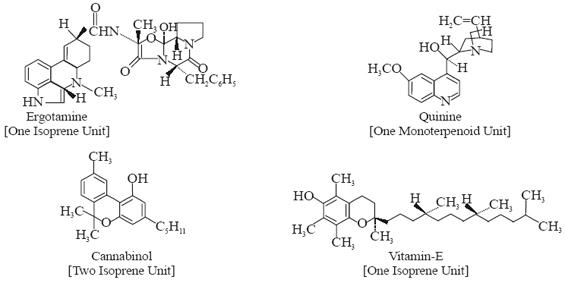 ergotamine, quinine, cannabinol and vitamin-E
