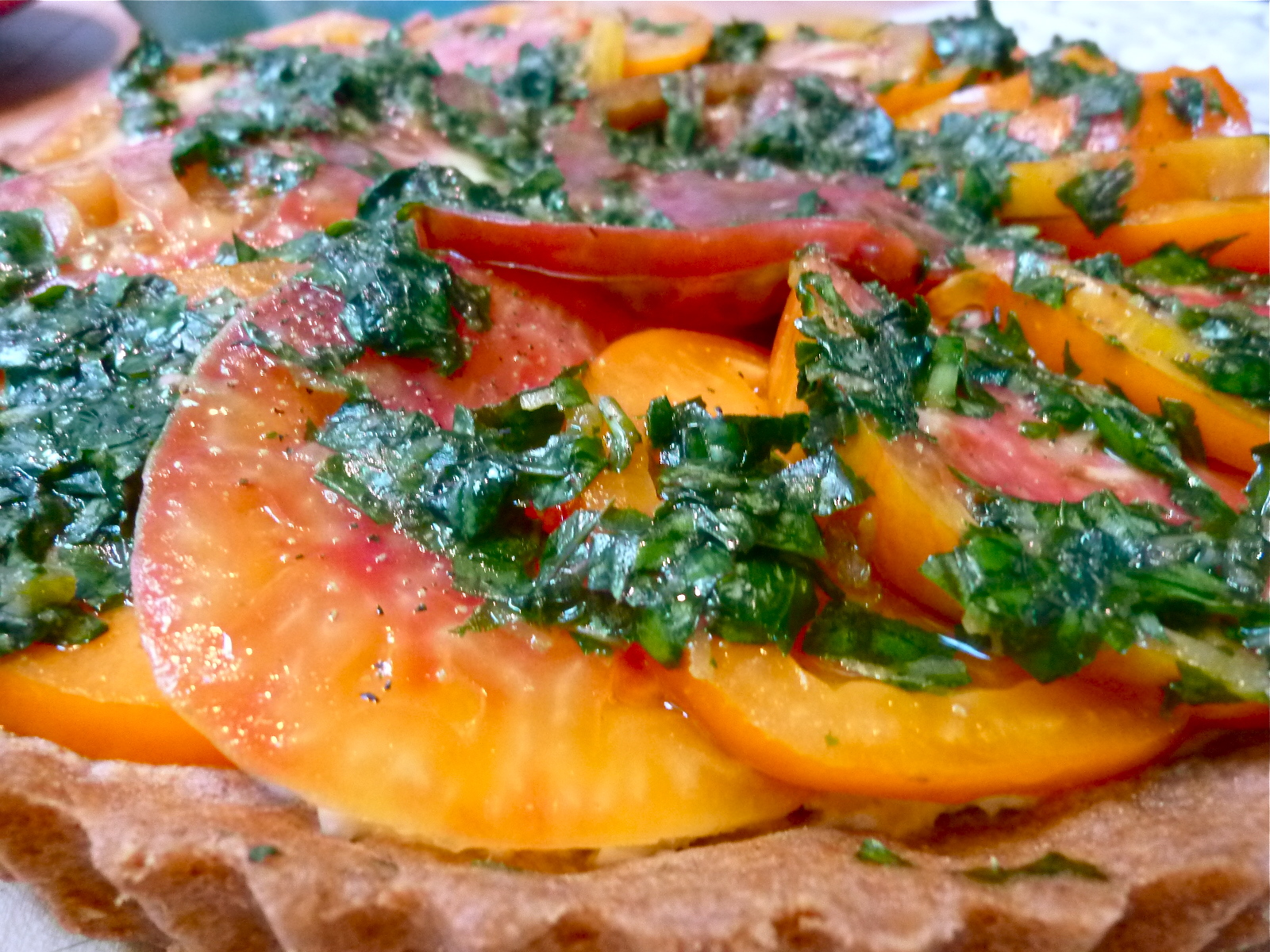 Heirloom Tomato Tart In A Parmesan Crust Recipe — Dishmaps