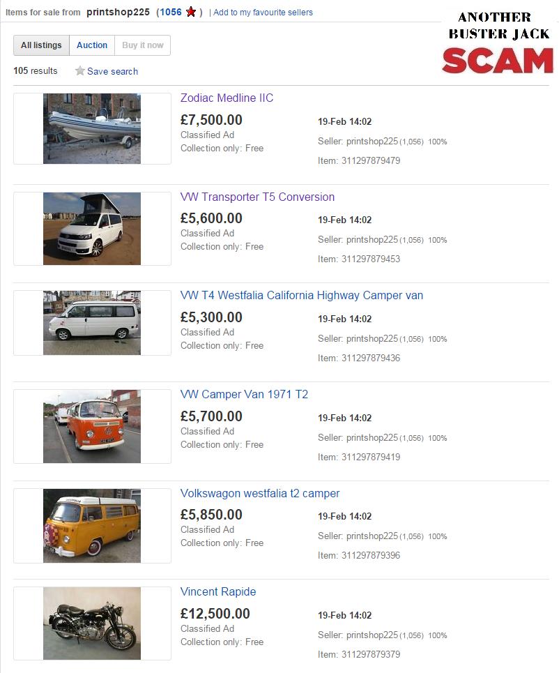 EBAY SCAM : 99 VEHICLES inc classic cars, caravans, tractors ...