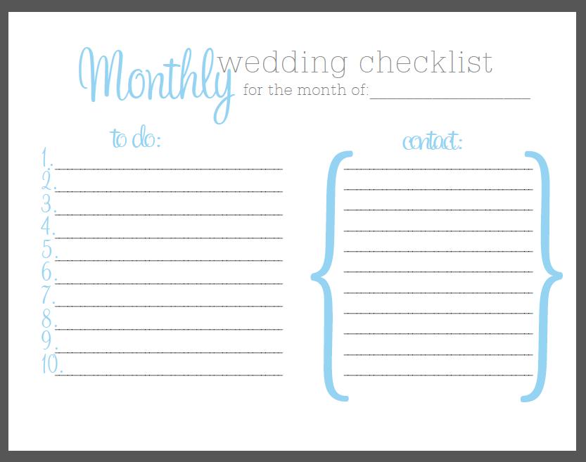 One Month Wedding Checklist