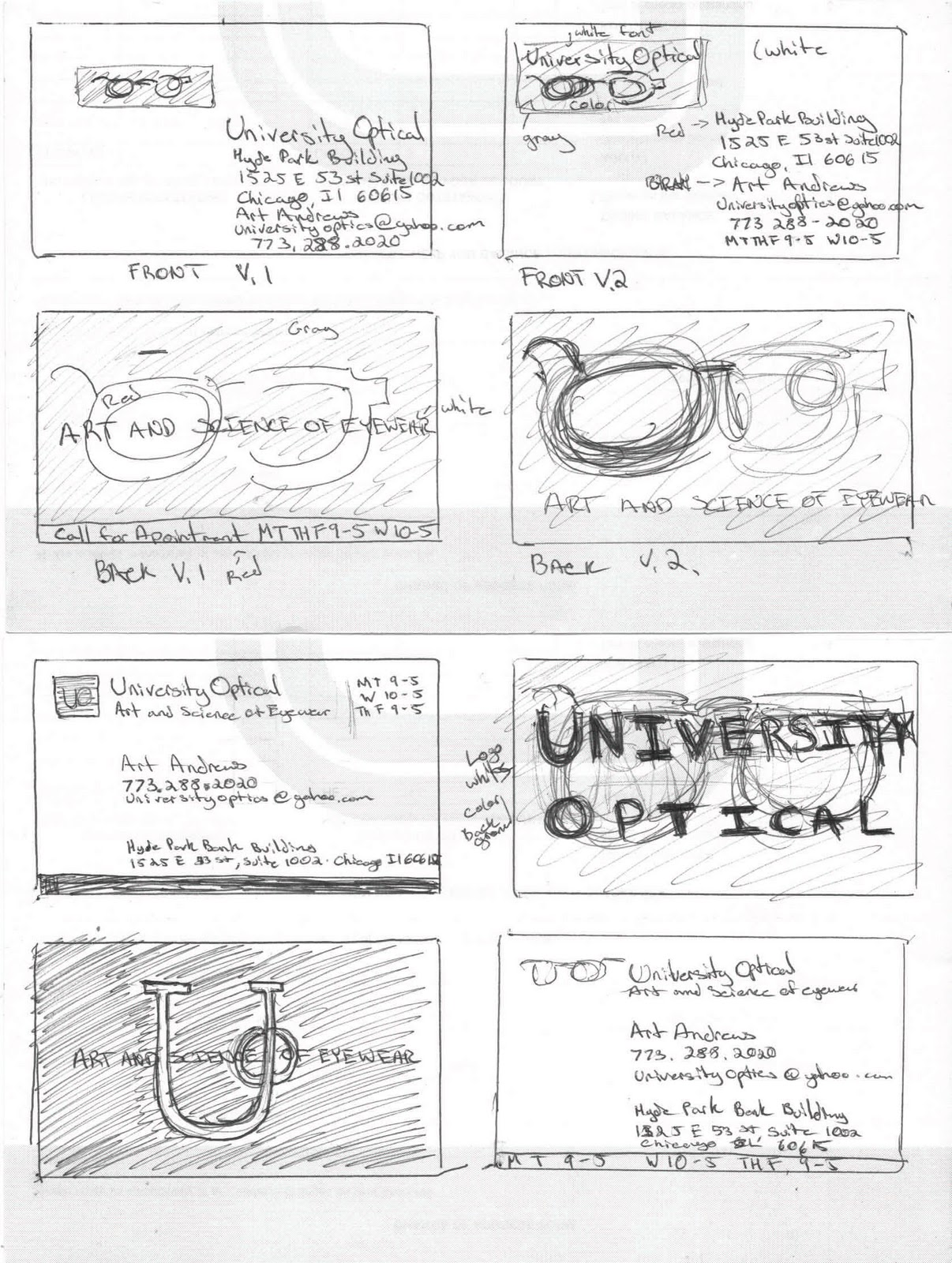Sketch ideas for university optical business cards jazmin giron sketch ideas for university optical business cards colourmoves