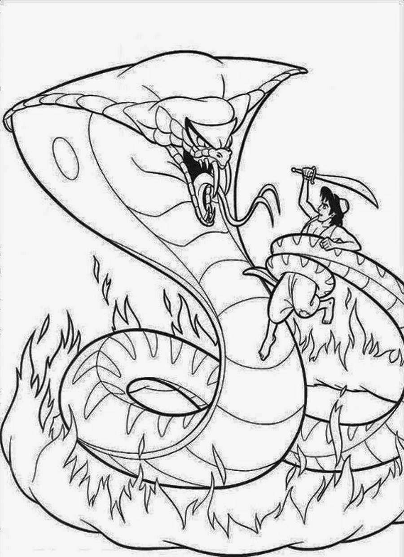 aladdin vs snake snake coloring pages