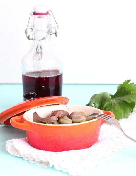 Hígado de pollo con verduras de temporada