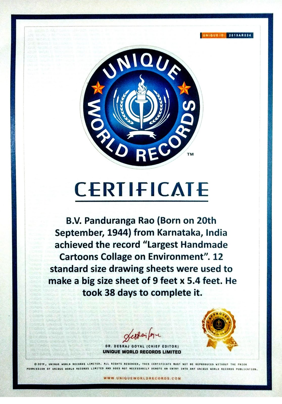 Unique World Record - 2019