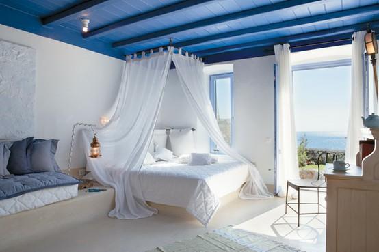 DORMITORIO BLANCO Y AZUL by dormitorios.blogspot.com