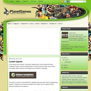 PlanetGames blogger template. template blogspot magazine style. download games blogger template
