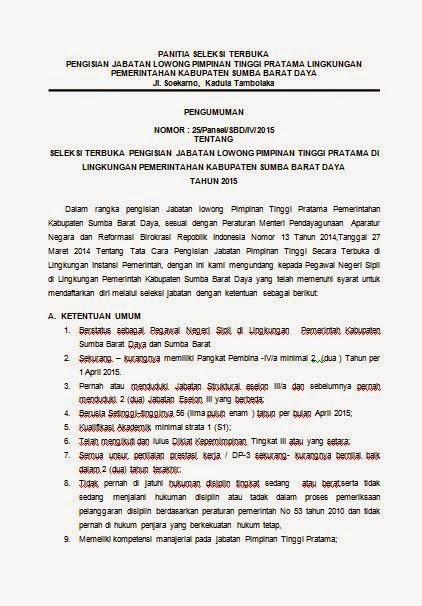 SELEKSI TERBUKA  PENGISIAN JABATAN LOWONG PIMPINAN TINGGI PRATAMA  SBD 2015