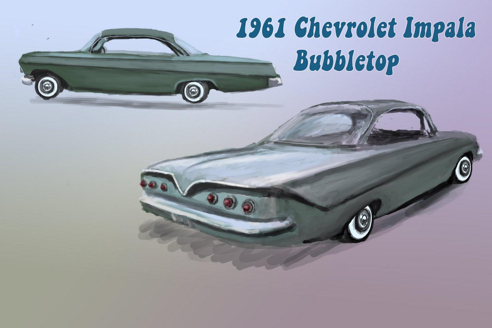 Fifties Paintings 1961 Chevrolet Impala Bubbletop Bubble Top