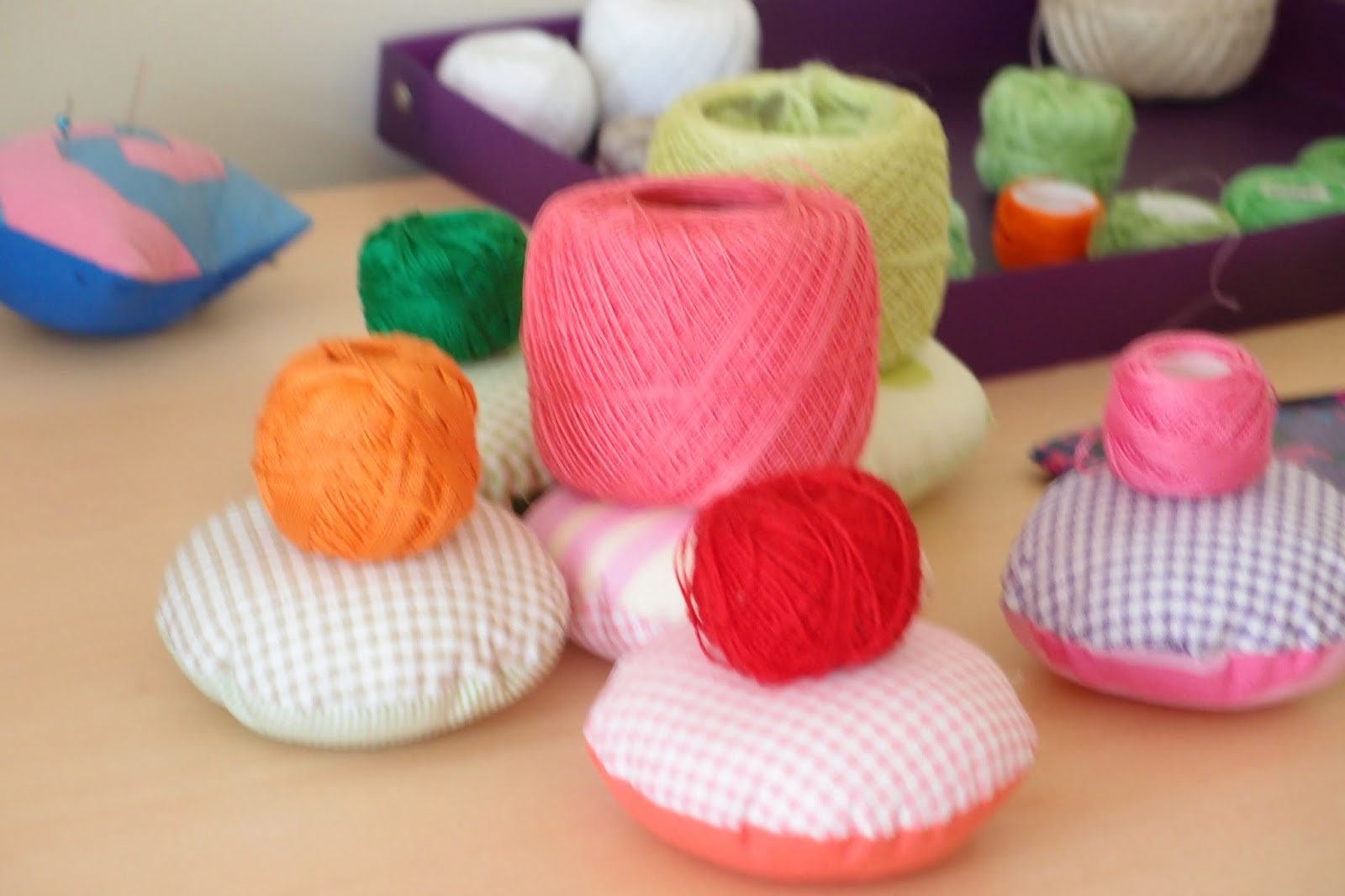 making flower pincushion - matching Pearl cotton thread