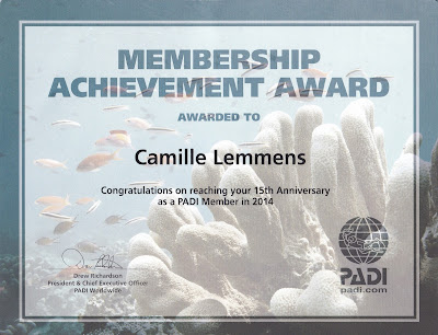 15 years PADI Membership Achievement Award