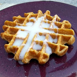 "Pumpkin Waffles with Cream Cheese ""Syrup"""