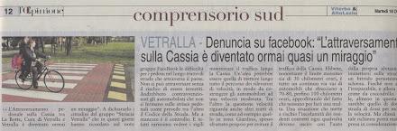 L'OPINIONE DEL 17.10.2011 ATTRAVERSAMENTO PEDONALE SULLA CASSIA
