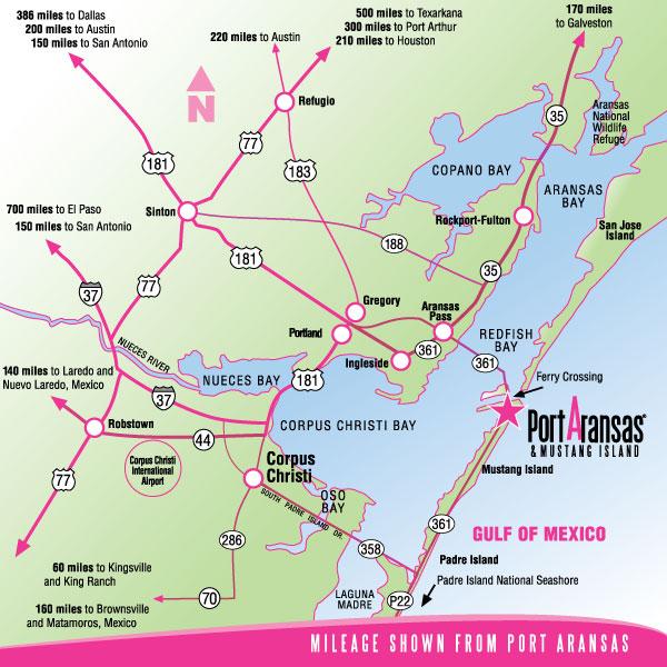 Map Of Port Aransas And Mustang Island